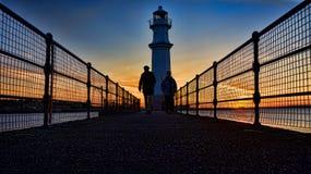 Silhouette de coucher du soleil en Ecosse près de New Haven photographie stock