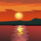 Silhouette de coucher du soleil et de montagne de la mer. Images stock