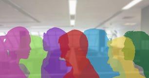 silhouette de couleur des personnes dans le bureau illustration libre de droits
