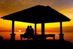 Silhouette de couples Image stock