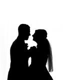 Silhouette de couples de mariage Photos stock