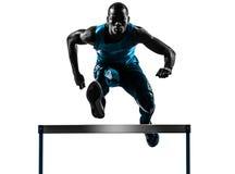 Silhouette de coureur de participant à une course d'obstacles d'homme photos stock