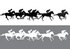 Silhouette de course de chevaux illustration libre de droits