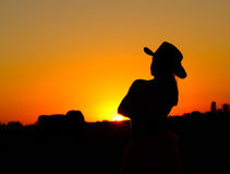 Silhouette de cow-girl Images libres de droits