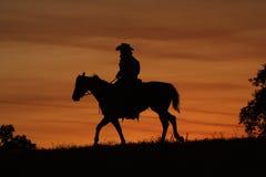Silhouette de cowboy Photos libres de droits