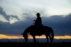 Silhouette de cowboy images stock