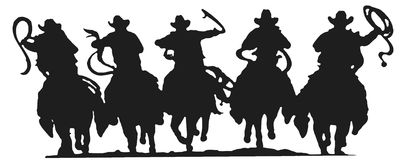 Silhouette de cowboys Photo libre de droits