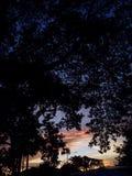 Silhouette de crépuscule de coucher du soleil Photos libres de droits