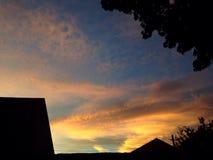 Silhouette de crépuscule de coucher du soleil Image stock