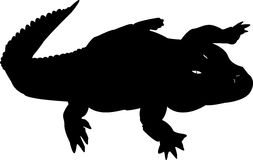 Silhouette de crocodile noir Photo stock