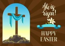 Silhouette de croix en bois avec le linceul Carte de voeux heureuse d'illustration ou de concept de Pâques Symbole religieux de l illustration de vecteur