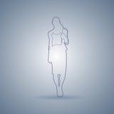 Silhouette de croquis de femme d'affaires se tenant intégrale au-dessus de Gray Background Photos libres de droits