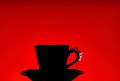 Silhouette de cuvette de café Images stock