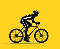 Silhouette de cycliste de sport Photographie stock
