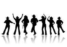 Silhouette de danse de cowboy Photo stock