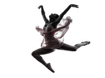 Silhouette de danse de danseur classique de ballerine de femme Image stock