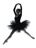 Silhouette de danse de danseur classique de ballerine de jeune femme Photo stock