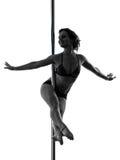 Silhouette de danseur de poteau de femme Photographie stock libre de droits
