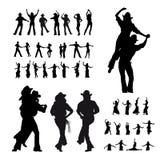 Silhouette de danseurs Images stock