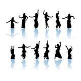 Silhouette de danseuses de femme Photographie stock libre de droits