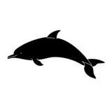Silhouette de dauphin sur un fond blanc Photographie stock libre de droits