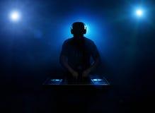 Silhouette de Dee jay Photo stock