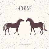 Silhouette de deux chevaux Image libre de droits