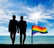 Silhouette de deux homosexuels Images stock