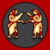 Silhouette de deux ours sur le fond gris Illustration Photographie stock libre de droits