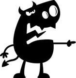 Silhouette de diable de bande dessinée fâchée Images libres de droits