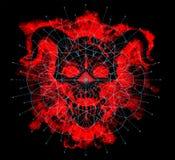 Silhouette de diable rouge avec le modèle géométrique sur le noir image libre de droits