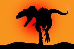 Silhouette de dinosaur sur un rouge Photo libre de droits