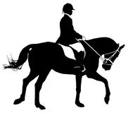 Silhouette de Dressage Photographie stock