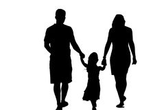 silhouette de famille image stock