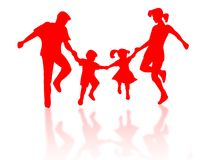 Silhouette de famille photos stock