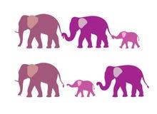 Silhouette de famille d'éléphant Photos libres de droits