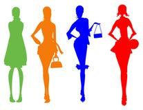 Silhouette de femelle d'affaires Image libre de droits
