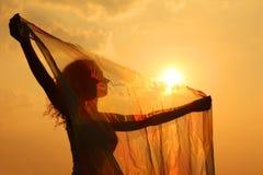 Silhouette de femme avec le tissu transparent Photo stock