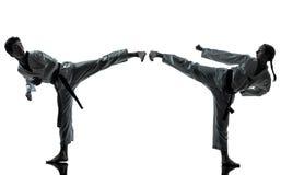 Silhouette de femme d'homme d'arts martiaux du Taekwondo de karaté Photos stock