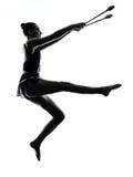 Silhouette de femme de fille de teeenager de gymnastique rythmique Images stock