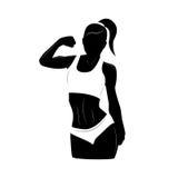Silhouette de femme de forme physique avec la ligne éléments moderne Photographie stock libre de droits