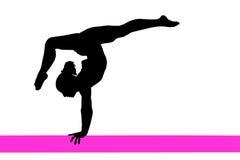 Silhouette de femme de gymnastique Images libres de droits