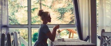 Silhouette de femme devant la fenêtre, fond de nature photographie stock libre de droits