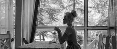 Silhouette de femme devant la fenêtre, fond de nature images libres de droits