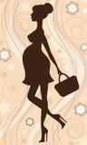 Silhouette de femme enceinte Photographie stock