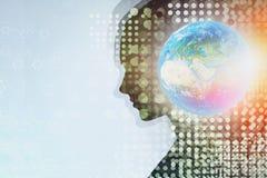Silhouette de femme et globe, concept d'AI illustration libre de droits