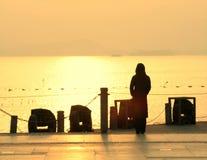 Silhouette de femme par le lac Photo stock