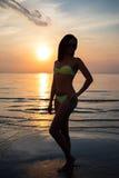 Silhouette de femme sexy dans le bikini sur la plage au coucher du soleil Image stock