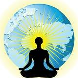 Silhouette de femmes de yoga dans le lotus de fleur de pose sur l'illustration de vecteur de globe de la terre Images stock
