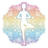 Silhouette de femmes Pose d'arbre de yoga Vrikshasana illustration de vecteur